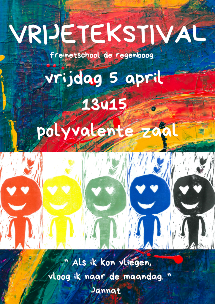 VRIJETEKSTIVAL vrijdag 5 april 13u15 polyvalente zaal